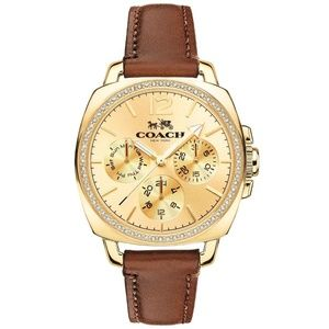 Coach Boyfriend Leather Strap 34mm Women's Watch